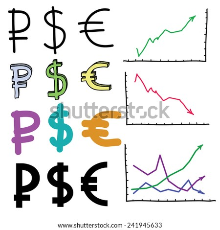 Currencies. Set of the some currencies. - stock vector