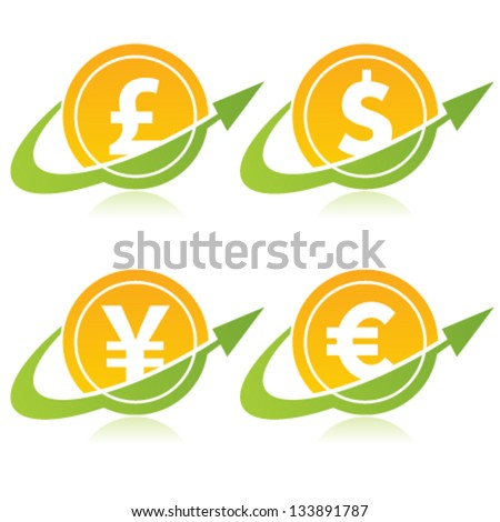 Currency Coins Logo Icons with Arrows - stock vector