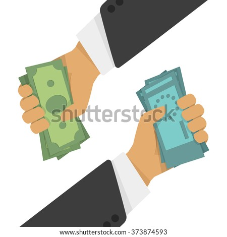 Currency exchange, money exchange. Stock Exchange in a flat style. Foreign exchange transactions in cash from hand to hand. - stock vector
