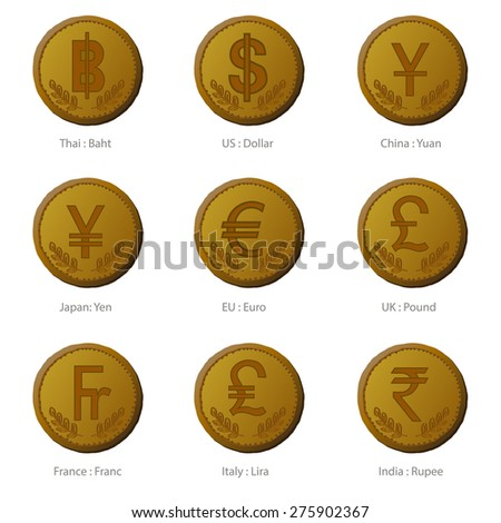 currency icon coin set for art design - stock vector