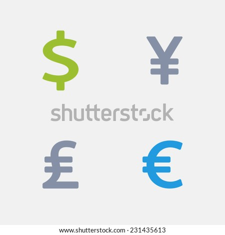 Currency Icons. Granite Series. Simple glyph style icons in 4 versions.  - stock vector