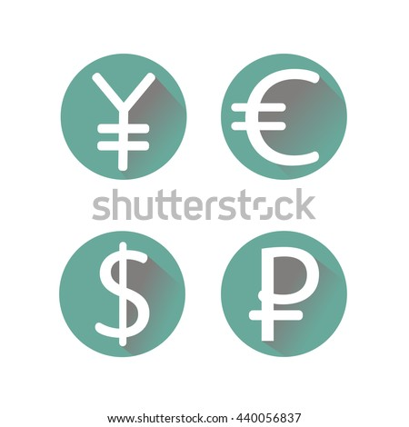 Currency icons set illustration - stock vector - stock vector