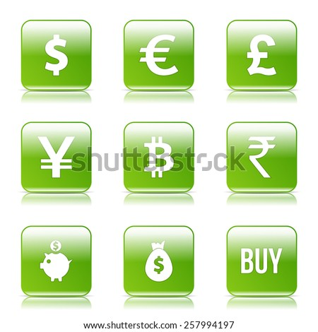 Currency Sign Square Vector Green Icon Design Set - stock vector