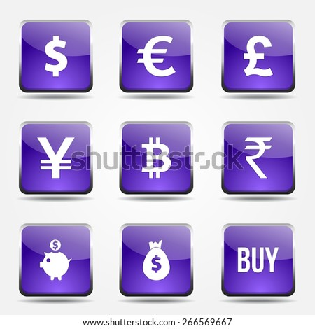 Currency Sign Square Vector Violet Icon Design Set - stock vector