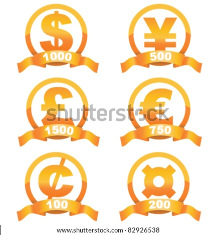 Currency signs golden set of with cool ribbon and place for your price - stock vector