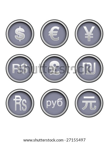 Currency symbol icon collection on modern vector button set - stock vector