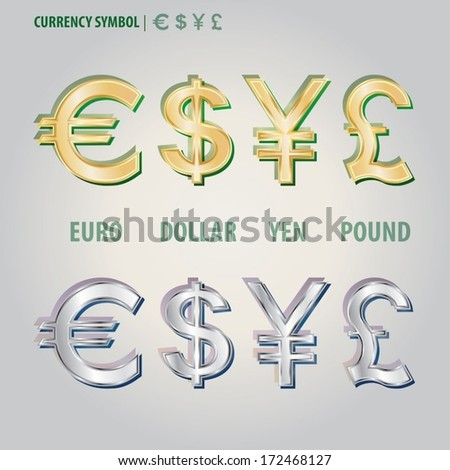 Currency Symbol of Dollar Euro Yen and Pound Vector  - stock vector