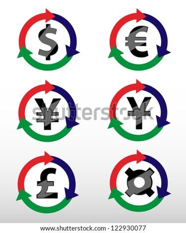 Currency Symbols: dollar, euro, pound, yuan, yen. Vector. - stock vector