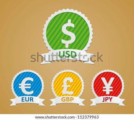 Currency Symbols - dollar, euro, yen and pound - stock vector