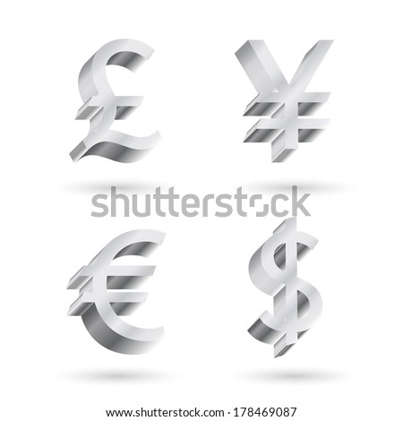 currency symbols. dollar, yen, euro, pound sterling - stock vector