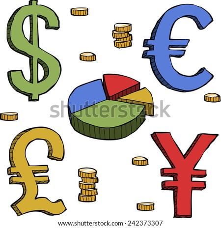 Currency symbols on a white background vector illustration - stock vector
