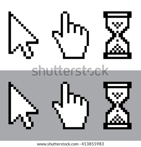 Cursor , cursor hand pointer and sand clock pixel icon set . Vector illustration - stock vector