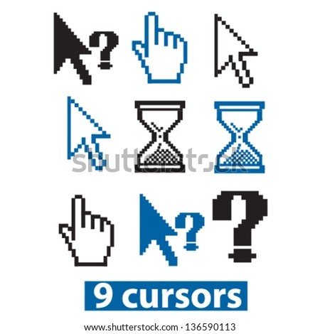 cursor icons: pointer, arrow, finger, clock icons, signs, vector set - stock vector