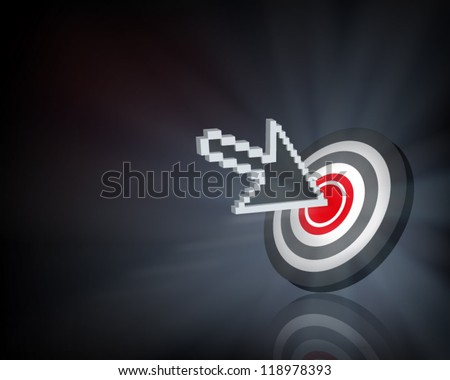 Cursor on target. Vector illustration. - stock vector
