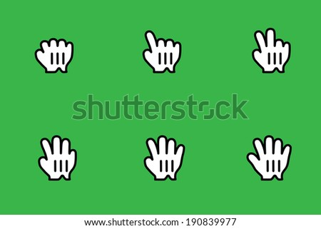Cursors icons: comics hand. Vector Illustration - stock vector