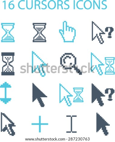 cursors icons, signs, illustrations set, vector - stock vector