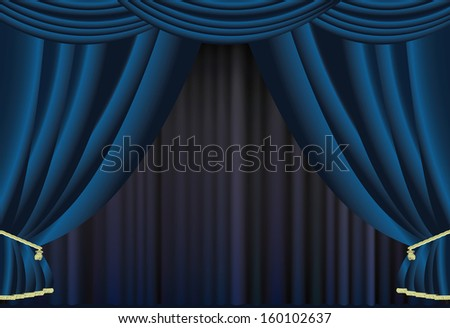 Curtains vector background. - stock vector