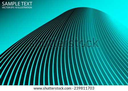 Curved and striped neon blue background vector template - Vector neon blue abstract background illustration - stock vector