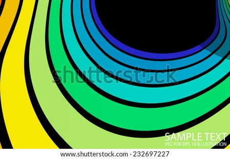 Curved pastel color rainbow background illustration - Vector colorful abstract background  template - stock vector