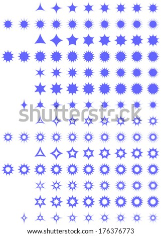 Curved star collection - vector version - stock vector