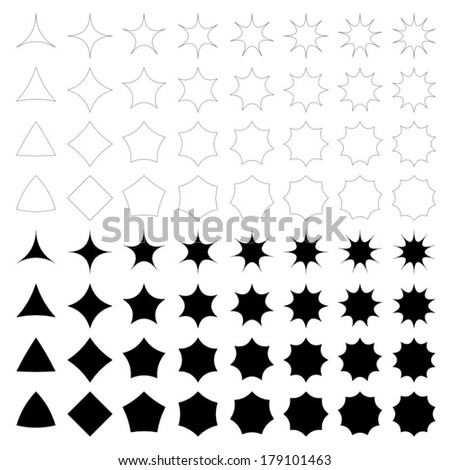 Curved star silhouette collection - vector version - stock vector