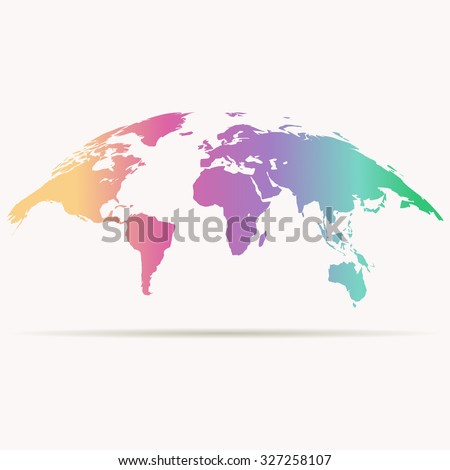 curved world map in rainbow colors - stock vector