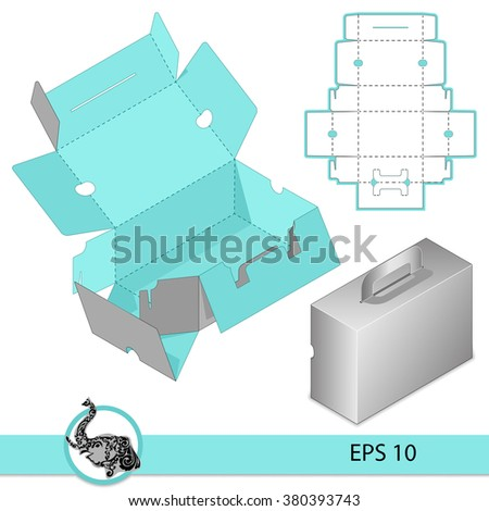 Custom Carry On Protective Box design, Wallet Handle, die-stamping,  folding, ready - stock vector