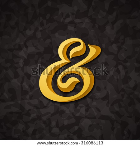 Custom decorative ampersand on abstract background. Vector illustration - stock vector