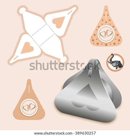 Custom Set Decorative Packet design, die-stamping,  folding, ready no glue Top Lock - stock vector
