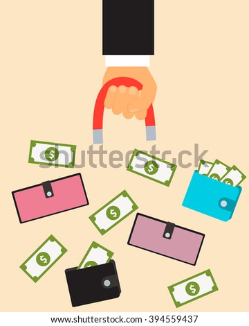 Customer acquisition. Hand with a magnet and a purse with money. Vector illustration - stock vector