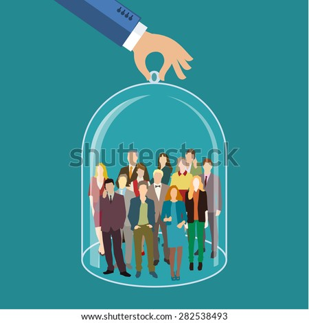 Customer care, care for employees, human resources, life insurance, sales force and marketing segmentation concepts. Flat design, vector illustration - stock vector