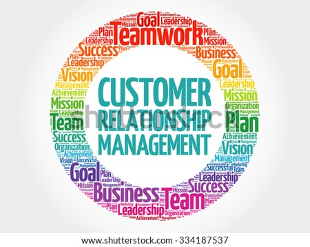 Customer Relationship Management circle stamp word cloud, business concept - stock vector