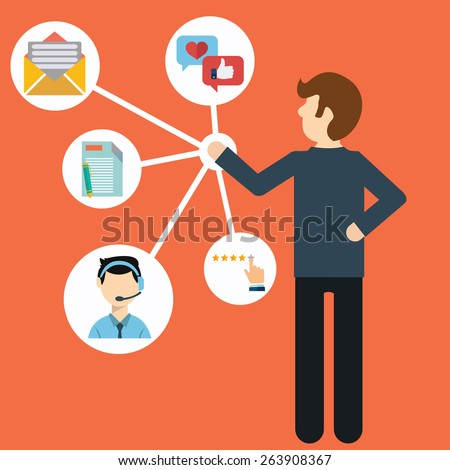 Customer Relationship Management. System for managing interactions with current and future customers - vector illustration. - stock vector
