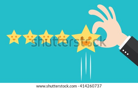 Customer review give a five star. Positive feedback concept. Vector illustration. Minimal and flat design - stock vector