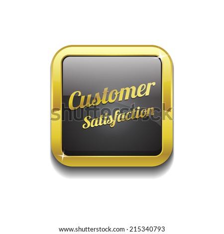 Customer Satisfaction Golden Black Vector Icon - stock vector