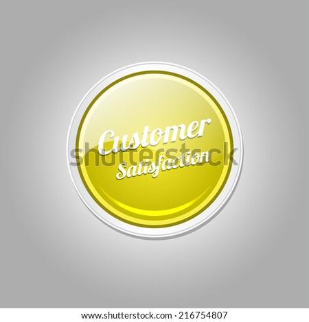 Customer Satisfaction Yellow Vector Icon - stock vector