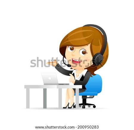 Customer service businesswoman - stock vector