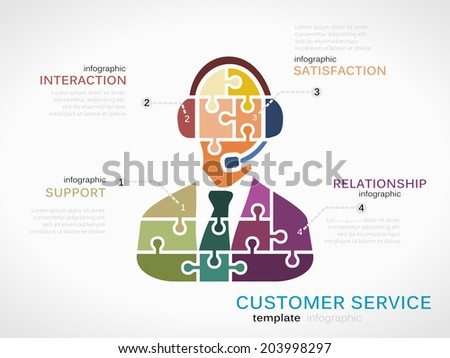 Customer service concept infographic template with representative made out of puzzle pieces - stock vector