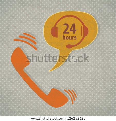 Customer Service icon (24 hours), vintage background. Vector - stock vector