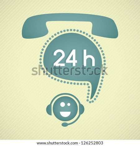 Customer service operator (24, hours)with headset and speech bubbles - stock vector