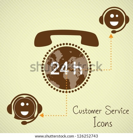 Customer service operators (24, hours) with headset and planet - stock vector