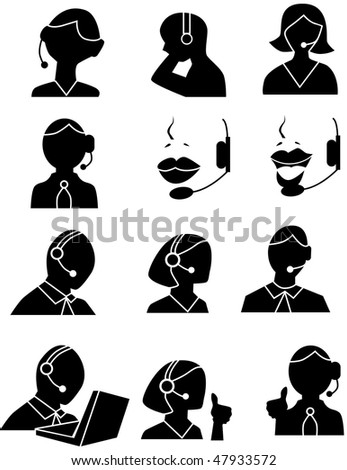 Customer service people icons isolated on a white background. - stock vector