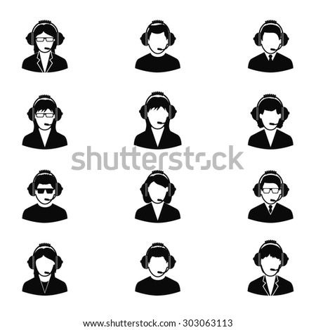 Customer service people icons set - stock vector