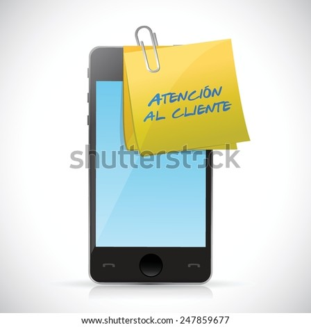 Customer Service phone sign in spanish illustration design over a white background - stock vector