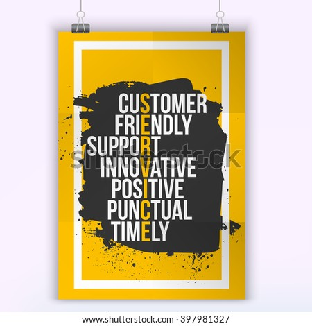 Customer service quote on grunge stain. Mock up for quotes. A4. Easy to edit - stock vector
