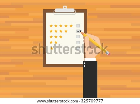 customer service rating hand give star rating - stock vector