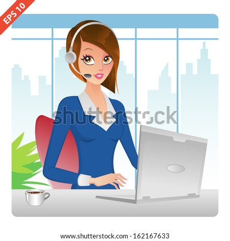 Customer Service Representative and Support in office(VECTOR) - stock vector