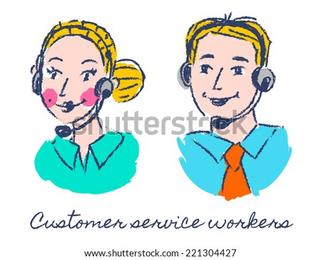 Customer service workers sketch drawing - stock vector