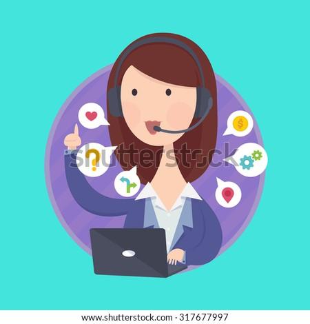 Customer support help desk woman operator service. - stock vector