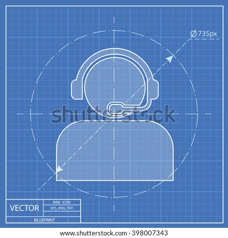 Customer support operator with headset blueprint icon  - stock vector